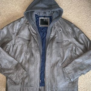 Mens Calvin Klein Faux Leather Hooded Jacket